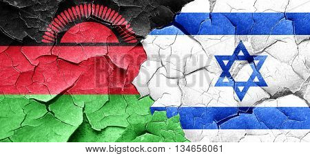 Malawi flag with Israel flag on a grunge cracked wall