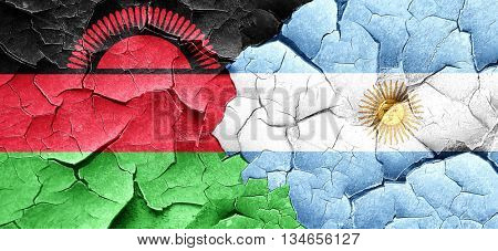 Malawi flag with Argentine flag on a grunge cracked wall