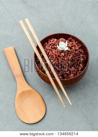 Steamed Traditional Thai Rice In Bowl With Spoon High Fiber And Vitamin E For Dietary And Healthy Fo