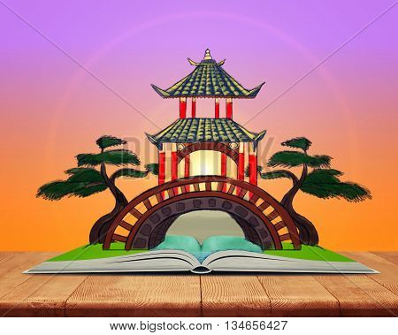 Model of an open book with sketch of Chinese Palace over it. Book - the key to success and internal development. Sign and symbol. Inner and spiritual wealth. Taoism. Chinese Palace. Confucianism.