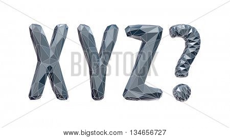 high-tech alphabet set, X, Y, Z, 3d illustration