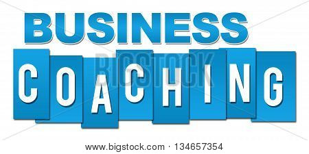 Business coaching text written over blue background.