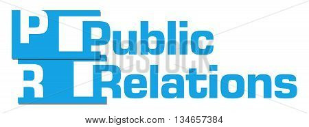Public relations text written over blue background.
