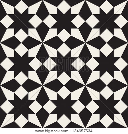 Vector Seamless Black And White Geometric Square Cross Tessellation Pattern