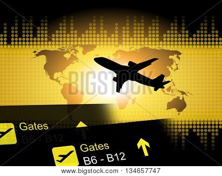 World Flight Means Departures Aeroplane And Aviation