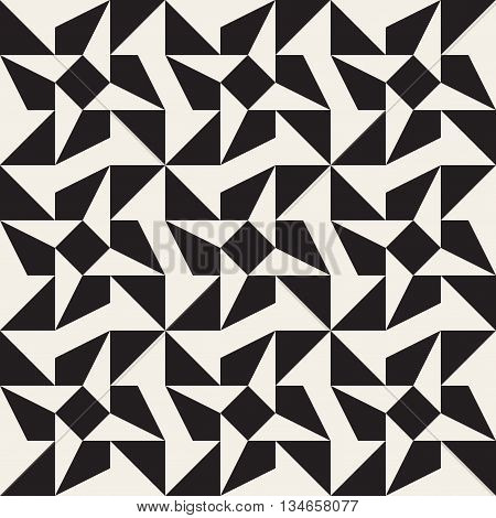Vector Seamless Black And White Triangle Star Geometric Tessellation Pattern