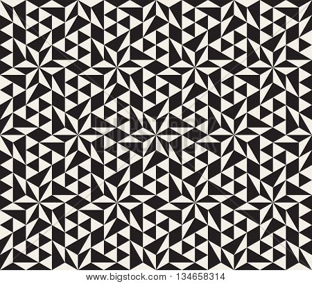 Vector Seamless Black And White Geometric Star Tessellation Pattern