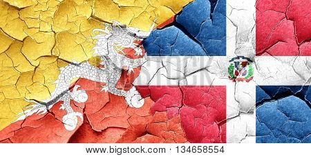 Bhutan flag with Dominican Republic flag on a grunge cracked wal