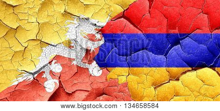 Bhutan flag with Armenia flag on a grunge cracked wall
