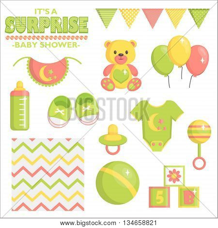 It is a surprise baby shower items collection for party, event decoration when sex of a baby is unknown. Design elements for cards and invitations. Green baby clothes, toys and other baby goods.