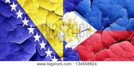 Bosnia and Herzegovina flag with Philippines flag on a grunge cr