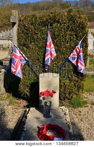 Giverny France - february 29 2016 : aviator grave. In the night of 7th and 8th june 1944 a RAF Lancaster was crashed in flames in the south of the ville 7 were died.