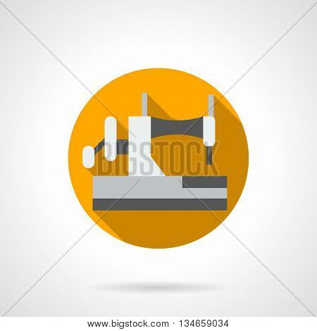 Home dressmaking workshop. White manual sewing machine. Handmade crafts, equipment for tailoring. Round flat color style vector icon.