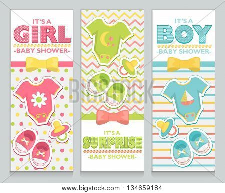 Baby shower card invitation set for boy, girl and unknown baby. Lovely childish pattern background, baby clothes, booties and soother stickers, bow, ribbon and beds design elements.