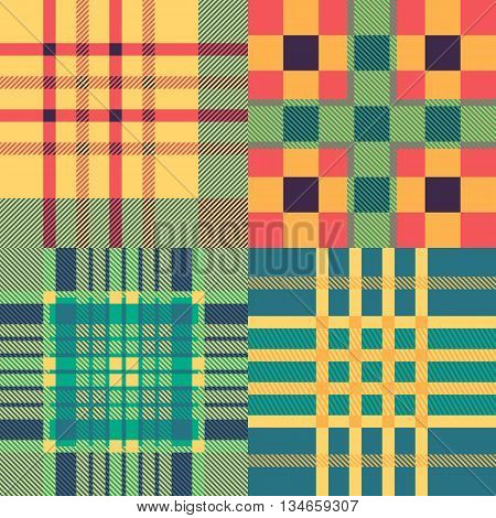 Set of seamless tartan patterns. Plaid twill colorfull palette tartan pattern. Vector illustration.