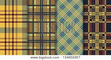 Set of seamless tartan patterns. Plaid twill colorful palette tartan pattern. Vector illustration.