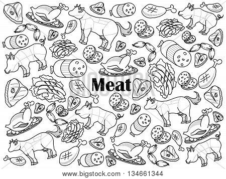 Meat design colorless set vector illustration. Coloring book. Black and white line art