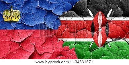 Liechtenstein flag with Kenya flag on a grunge cracked wall