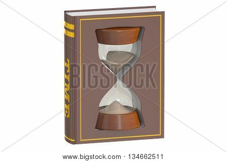 book with hourglass 3D rendering isolated on white background