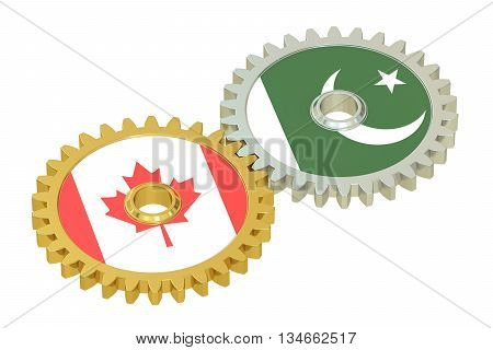 Canada and Pakistan flags on a gears 3D rendering isolated on white background