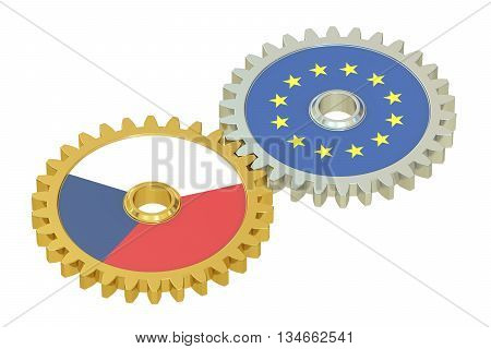 Czech Republic and EU flags on a gears 3D rendering isolated on white background