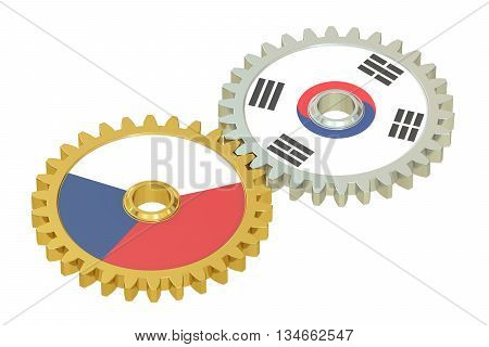 Czech Republic and South Korea flags on a gears 3D rendering isolated on white background