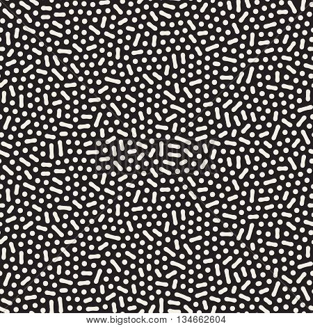 Vector Seamless Black And White Jumble Organic Lines Pattern