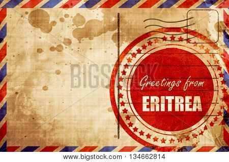 Greetings from eritrea, red grunge stamp on an airmail backgroun