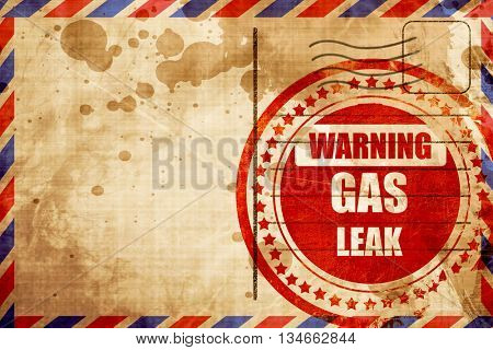 Gas leak background, red grunge stamp on an airmail background
