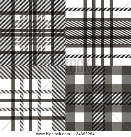 Set of seamless tartan patterns. Plaid twill black and white tartan pattern. Vector illustration.