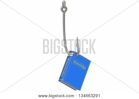 Fishing hook with book knowledge concept 3D rendering