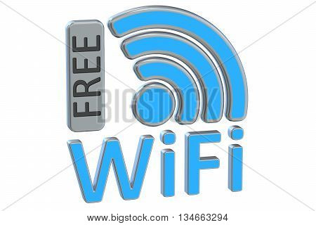 Free Wi-Fi concept 3D rendering isolated on white background