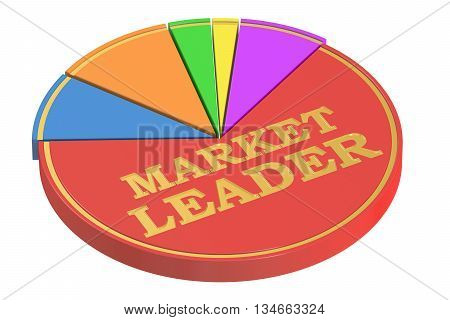 Market Leader concept with Pie Chart 3D rendering