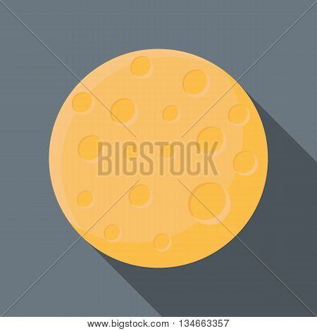 Moon icon in flat style with long shadow. Space symbol