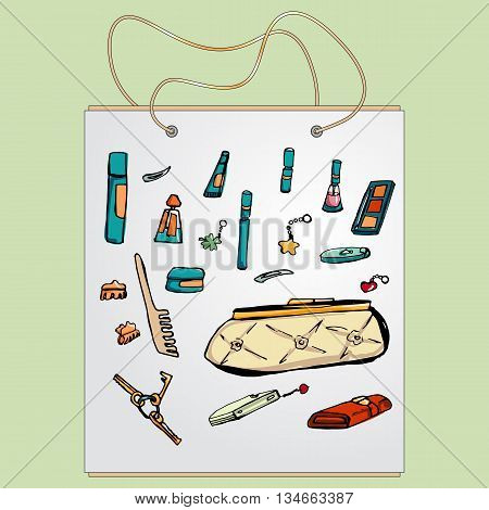 Shopping bag, gift bag with the image of fashionable things.Fashion set. various accessories, the contents of female's handbag or pocket . Illustration in hand drawing style.