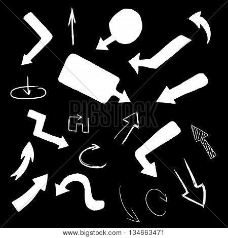Hand drawing vector arrow collection doodle illustration on black background. Hand drawn arrow vector. Hand drawn arrow sign. Hand drawn arrow eps.Hand drawn arrow flat. Hand drawn arrow design.