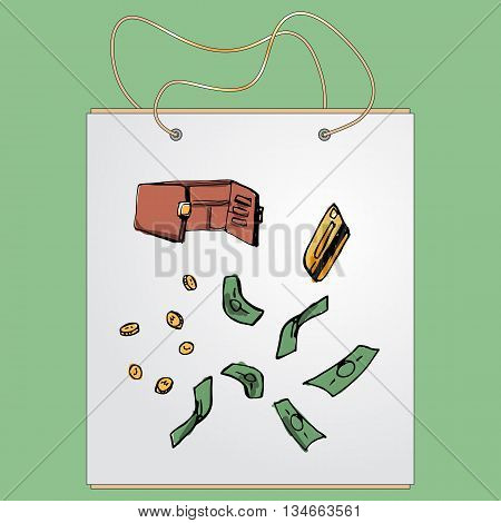 Shopping bag, gift bag with the image of fashionable things.Fashion set. Various accessories, the contents of handbag or pocket. Illustration in hand drawing style.