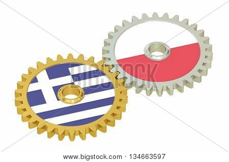 Poland and Greece flags on a gears 3D rendering isolated on white background