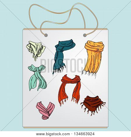Shopping bag, gift bag with the image of fashionable things.Fashion set. Various scarves. Illustration in hand drawing style.