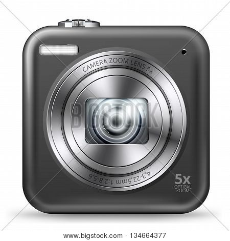 Point and shoot black cheap camera detailed square icon