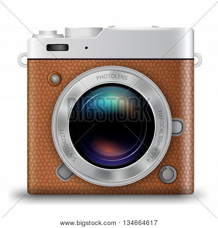 Vintage retro style photo camera icon with brown leather, square vector illustration