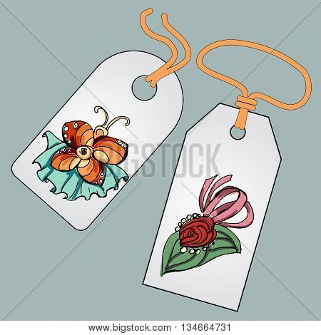Label, badge, price tag with the image of fashionable things.Fashion set brooches.  Illustration in hand drawing style.