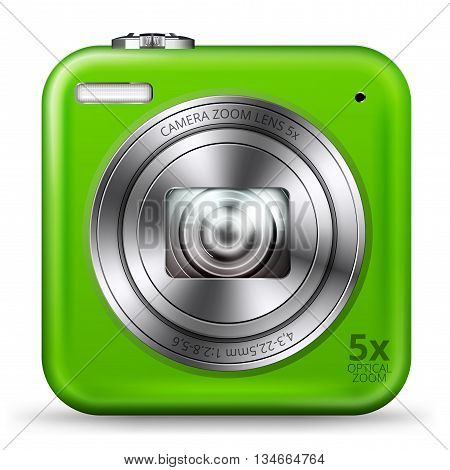 Vector detailed easy bright green colored point and shoot camera icon isolated on white background