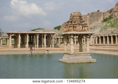 Hampi bazaar UNESCO world heritage site in Karnataka, India