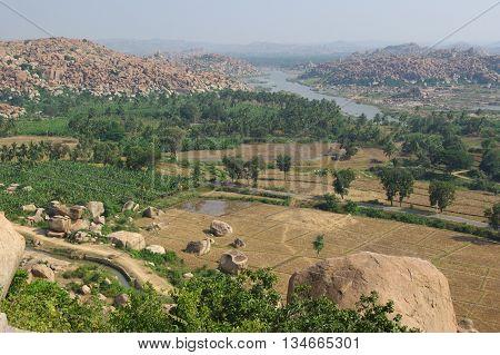 The breathtakingly beautiful valley view of Tungabhadra river near Hampi town in Karnataka, India