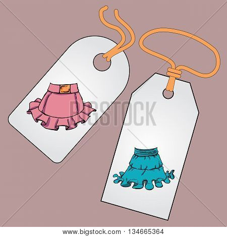 Label, badge, price tag with the image of fashionable things.Fashion set. Various skirts. Illustration in hand drawing style.