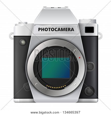 Vintage retro style digital photo camera icon with open matrix on bayonet black leather, square vector illustration