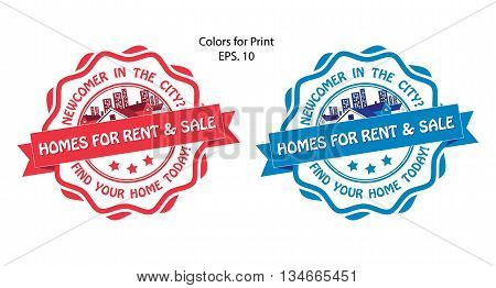 Real estate stamps for print. Set of two real estate labels / stamp for print: Homes for rent and Sale. Print colors used.