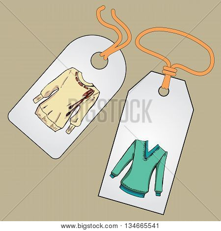 Label, badge, price tag with the image of fashionable things.Fashion set. Different sweaters, jackets. illustration in hand drawing style.