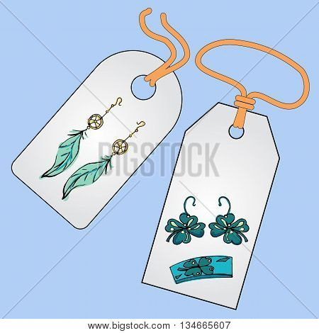 Label, badge, price tag with the image of fashionable things.Fashion set. Fashion jewelry, earrings, bracelets. Illustration in hand drawing style.